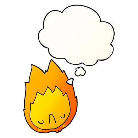 cartoon unhappy flame with thought bubble in smooth gradient style