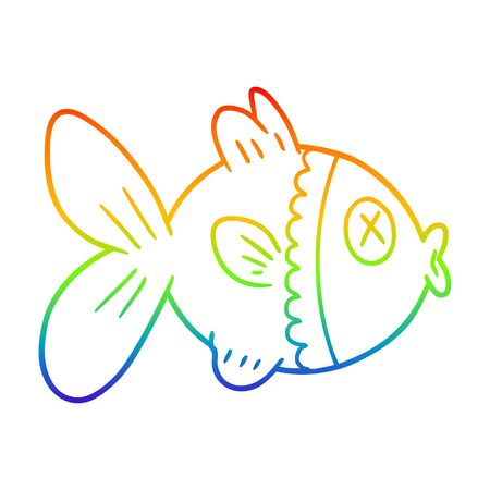 rainbow gradient line drawing of a cartoon goldfish