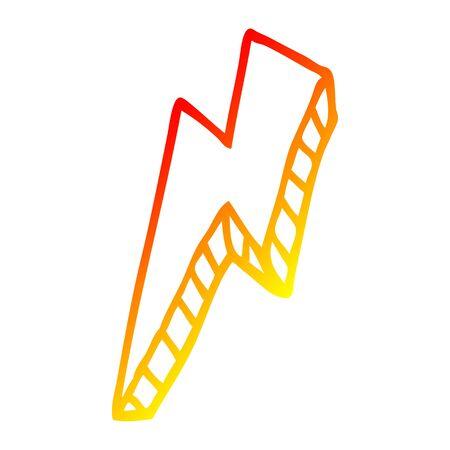 warm gradient line drawing of a cartoon thunder bolt Ilustração