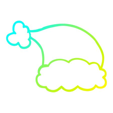 cold gradient line drawing of a cartoon elf hat Illustration