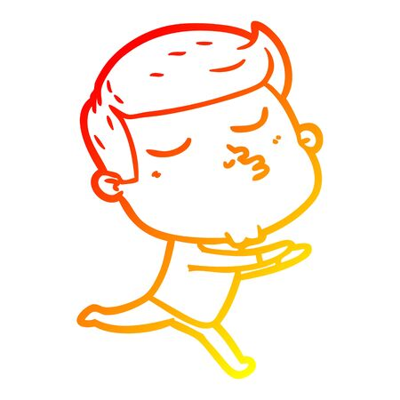 warm gradient line drawing of a cartoon model guy pouting Illustration