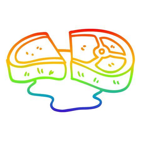 rainbow gradient line drawing of a cartoon rare steak