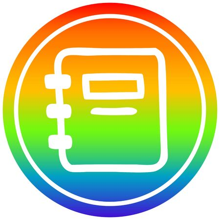 note book circular icon with rainbow gradient finish