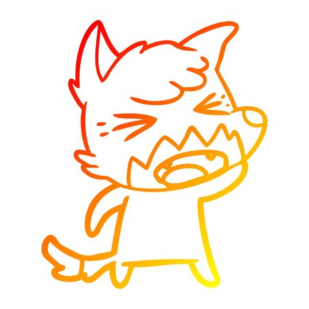 warm gradient line drawing of a angry cartoon fox
