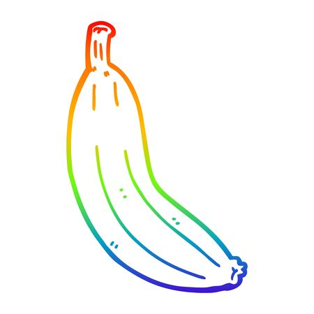 rainbow gradient line drawing of a cartoon banana Illustration