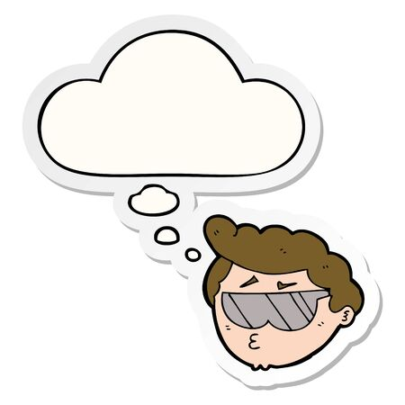 cartoon boy wearing sunglasses with thought bubble as a printed sticker Ilustração