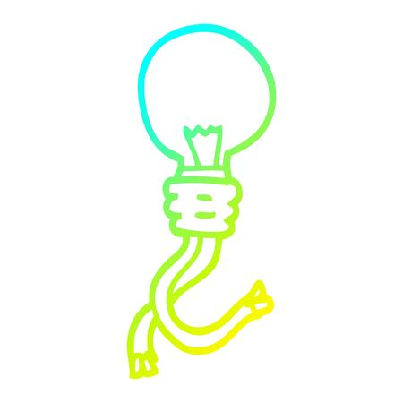 cold gradient line drawing of a cartoon electric light bulb