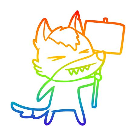 rainbow gradient line drawing of a angry wolf cartoon with placard