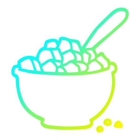 cold gradient line drawing of a cartoon bowl of cereal