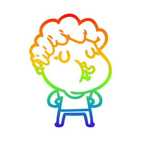 rainbow gradient line drawing of a cartoon man pulling face