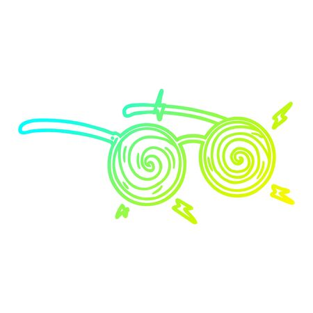 cold gradient line drawing of a cartoon x-ray specs 向量圖像