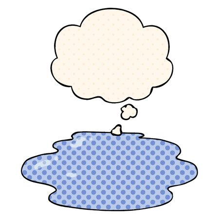 cartoon puddle of water with thought bubble in comic book style