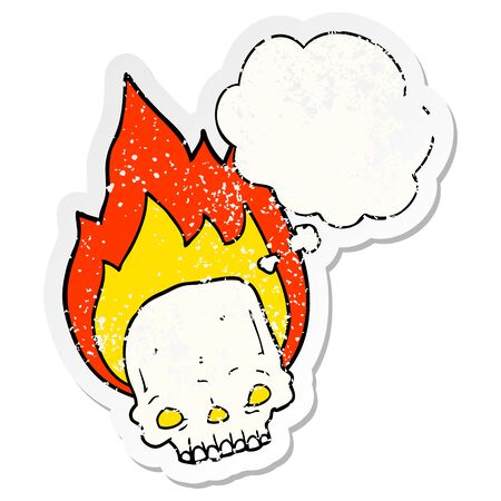 spooky cartoon flaming skull with thought bubble as a distressed worn sticker Illusztráció
