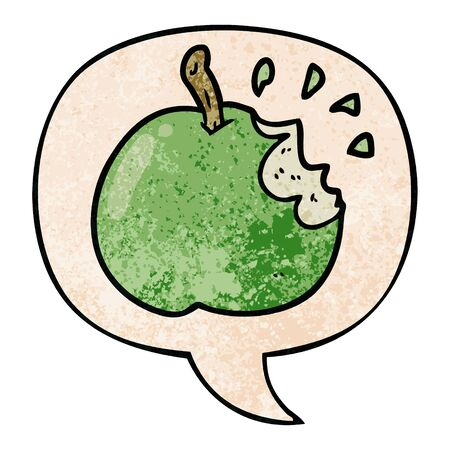 cartoon fresh bitten apple with speech bubble in retro texture style  イラスト・ベクター素材