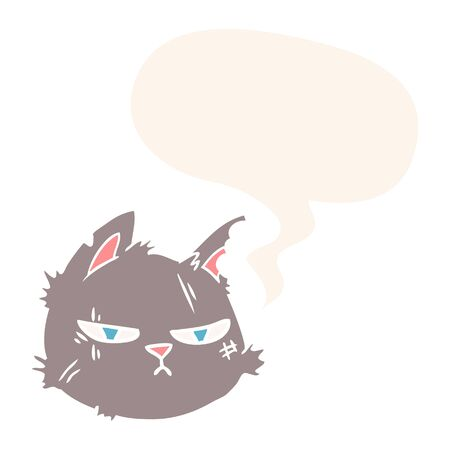 cartoon tough cat face with speech bubble in retro style