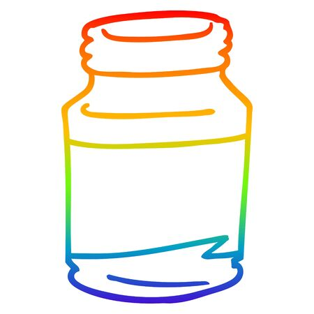 rainbow gradient line drawing of a cartoon pill jar