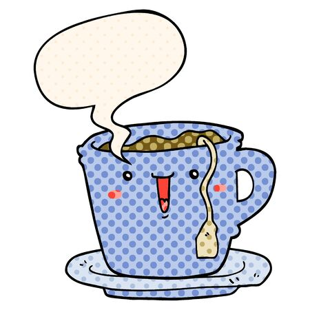 cute cartoon cup and saucer with speech bubble in comic book style
