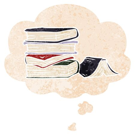 cartoon pile of books with thought bubble in grunge distressed retro textured style