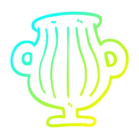 cold gradient line drawing of a cartoon of a golden vase 向量圖像