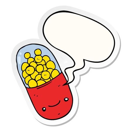 cartoon pill with speech bubble sticker