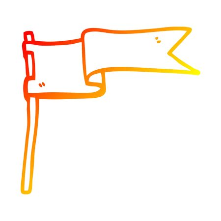 warm gradient line drawing of a cartoon flag waving in wind