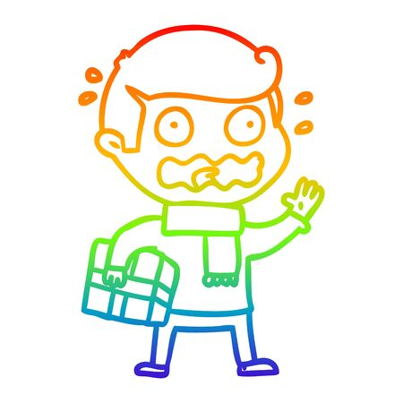 rainbow gradient line drawing of a cartoon man totally stressed out