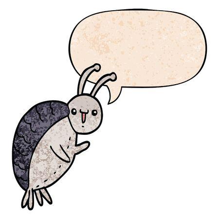 cartoon beetle with speech bubble in retro texture style Çizim