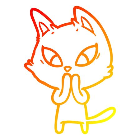 warm gradient line drawing of a confused cartoon cat Stock Vector - 130355910