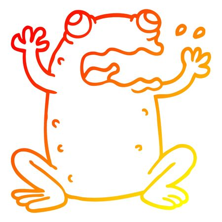 warm gradient line drawing of a cartoon crazy frog