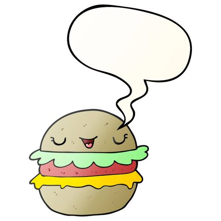 cartoon burger with speech bubble in smooth gradient style