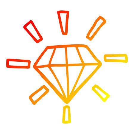 warm gradient line drawing of a cartoon tattoo diamond Иллюстрация