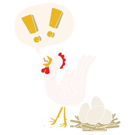 cartoon chicken laying egg with speech bubble in retro style