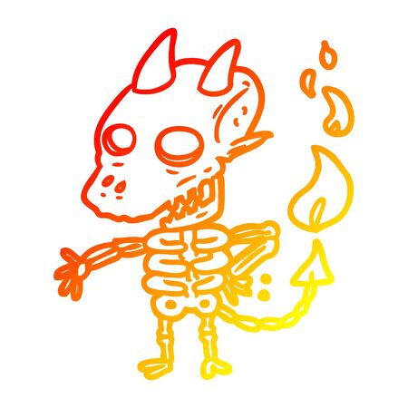 warm gradient line drawing of a spooky skeleton demon