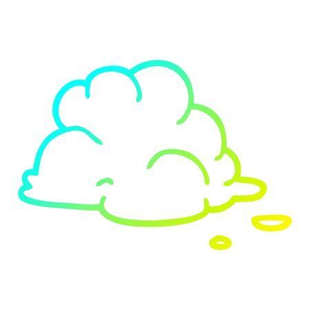 cold gradient line drawing of a cartoon fluffy white clouds