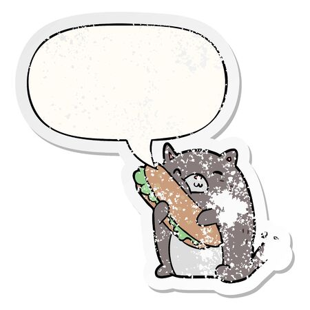 cartoon cat loving the amazing sandwich hes just made for lunch with speech bubble distressed distressed old sticker Ilustração