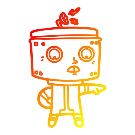 warm gradient line drawing of a cartoon robot accusing Illustration