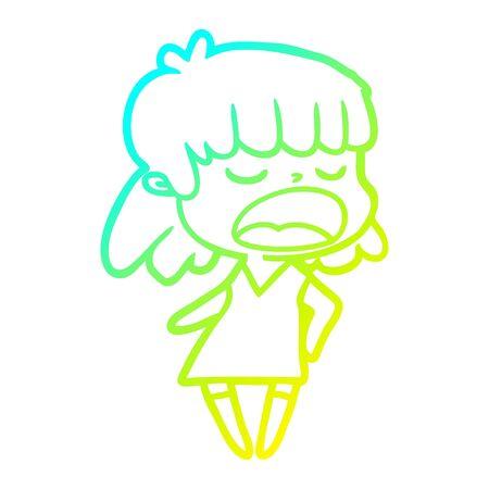 cold gradient line drawing of a cartoon woman talking loudly Foto de archivo - 130382322