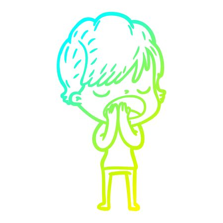 cold gradient line drawing of a cartoon woman talking