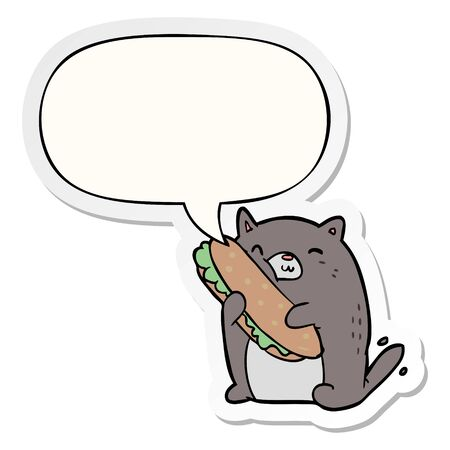 cartoon cat loving the amazing sandwich hes just made for lunch with speech bubble sticker