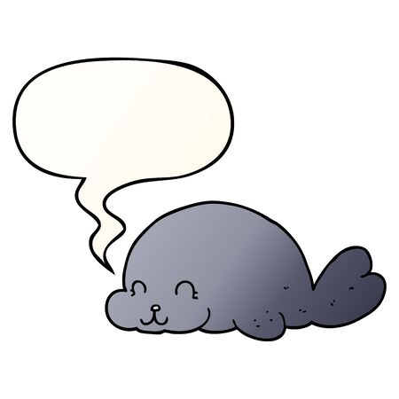 cute cartoon seal with speech bubble in smooth gradient style