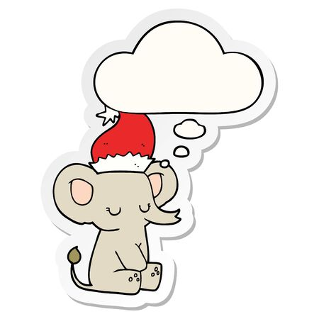 cute christmas elephant with thought bubble as a printed sticker