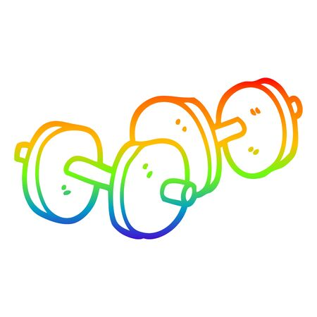 rainbow gradient line drawing of a cartoon pair of dumbbells