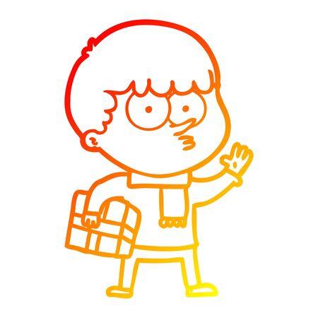 warm gradient line drawing of a cartoon curious boy carrying a gift Illusztráció
