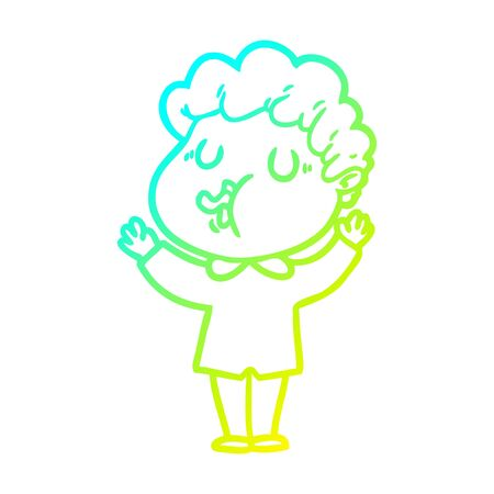 cold gradient line drawing of a cartoon man singing