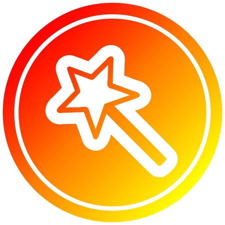 magic wand circular icon with warm gradient finish Çizim