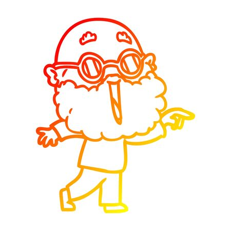 warm gradient line drawing of a cartoon joyful man with beard pointing finger