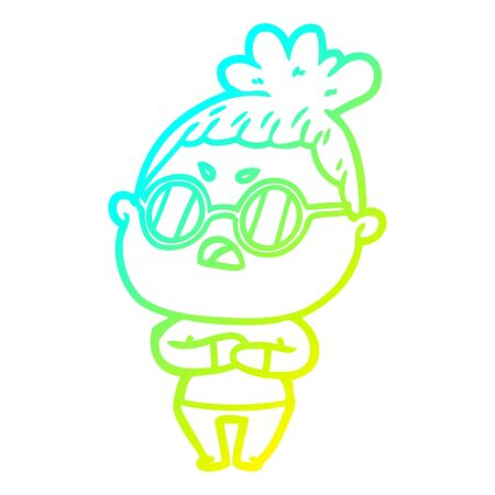 cold gradient line drawing of a cartoon annoyed woman