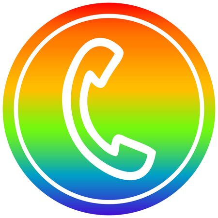 telephone handset circular icon with rainbow gradient finish
