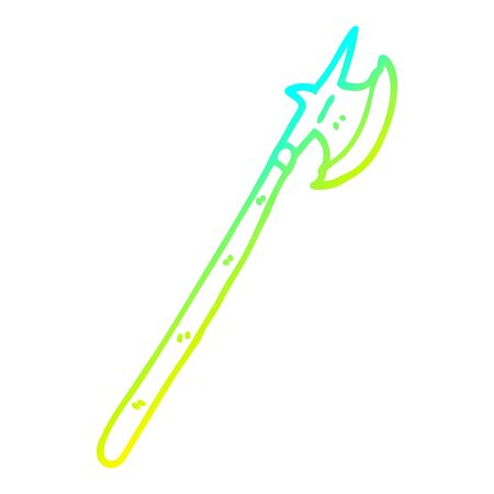 cold gradient line drawing of a cartoon medieval halberd