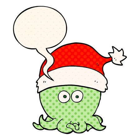 cartoon octopus wearing christmas hat with speech bubble in comic book style